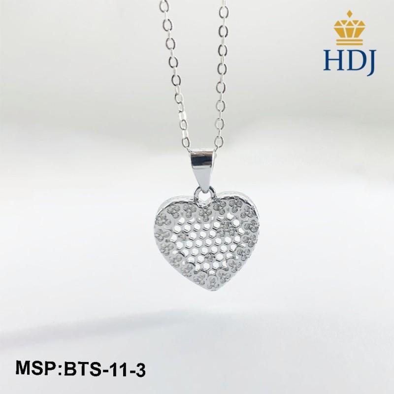 Combo dây chuyền và khuyên tai bạc Ý 925 Hình Trái tim xinh xắn sang trọng trang sức cao cấp HDJ mã BTS-11-3