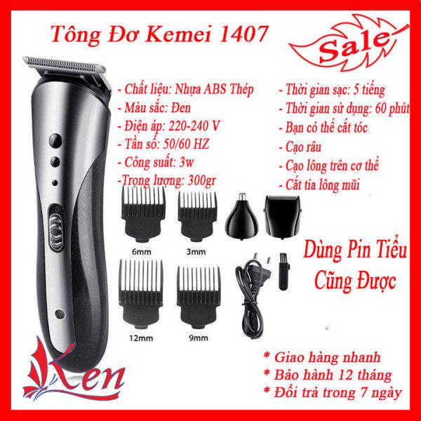 Tông đơ cắt tóc, Tông đơ cắt tóc người lớn trẻ em, Tông đơ cắt tóc đa năng, Tăng đơ cắt tóc chuyên nghiệp, cạo râu, cắt lông mũi 3in1 kemei 1407 chất lượng tốt như philips,codos,wahl,jichen... giá rẻ