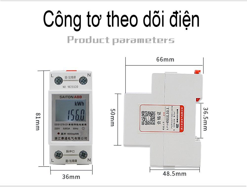 Công tơ điện tử, thiết bị đo công suất SAITON ABB 65A shop KOJIME