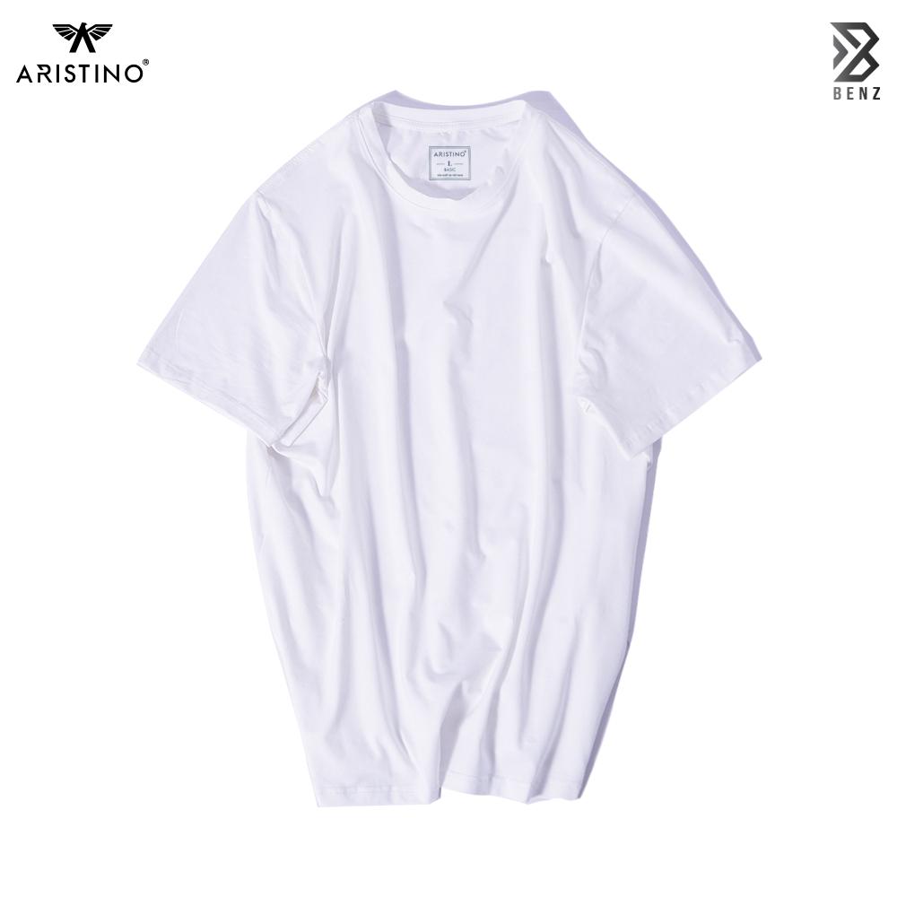 Áo thun nam 100% cotton Aristino AC22 màu trắng basic, chất liệu cotton thấm hút mồ hôi, nhẹ nhàng, co giãn tốt. Áo t-shirt nam Benzmen