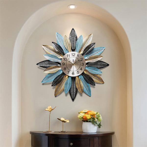 Đồng hồ nghệ thuật treo tường đẹp - đồng hồ trang trí biệt thự - đồng hồ treo tường decor hiện đại họa tiết lá chống gỉ cao cấp trang trí nhà cửa bán chạy