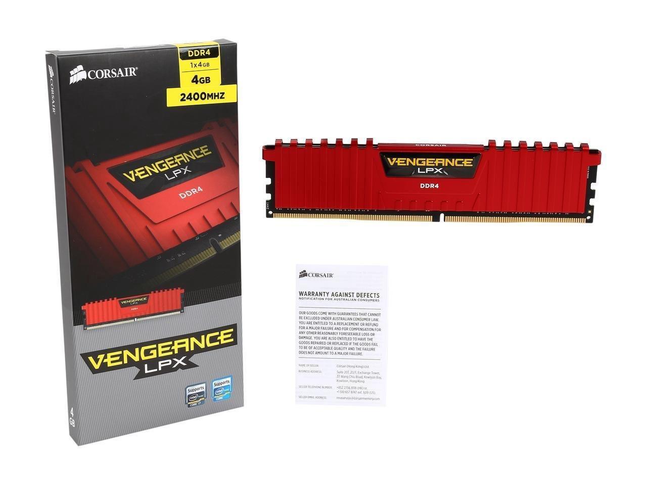 Corsair CMK4GX4M1A2400C14R Vengeance LPX 4 GB (1 x 4 GB) DDR4 2400 MHz C14 XMP