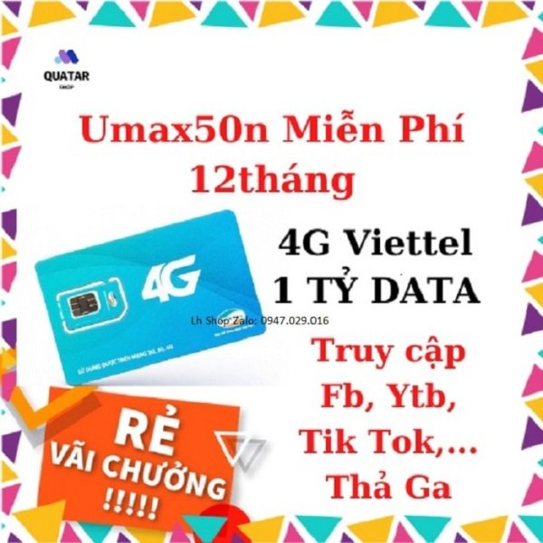 Sim 4G Viettel - UMAX50N DATA TỐC ĐỘ CAO