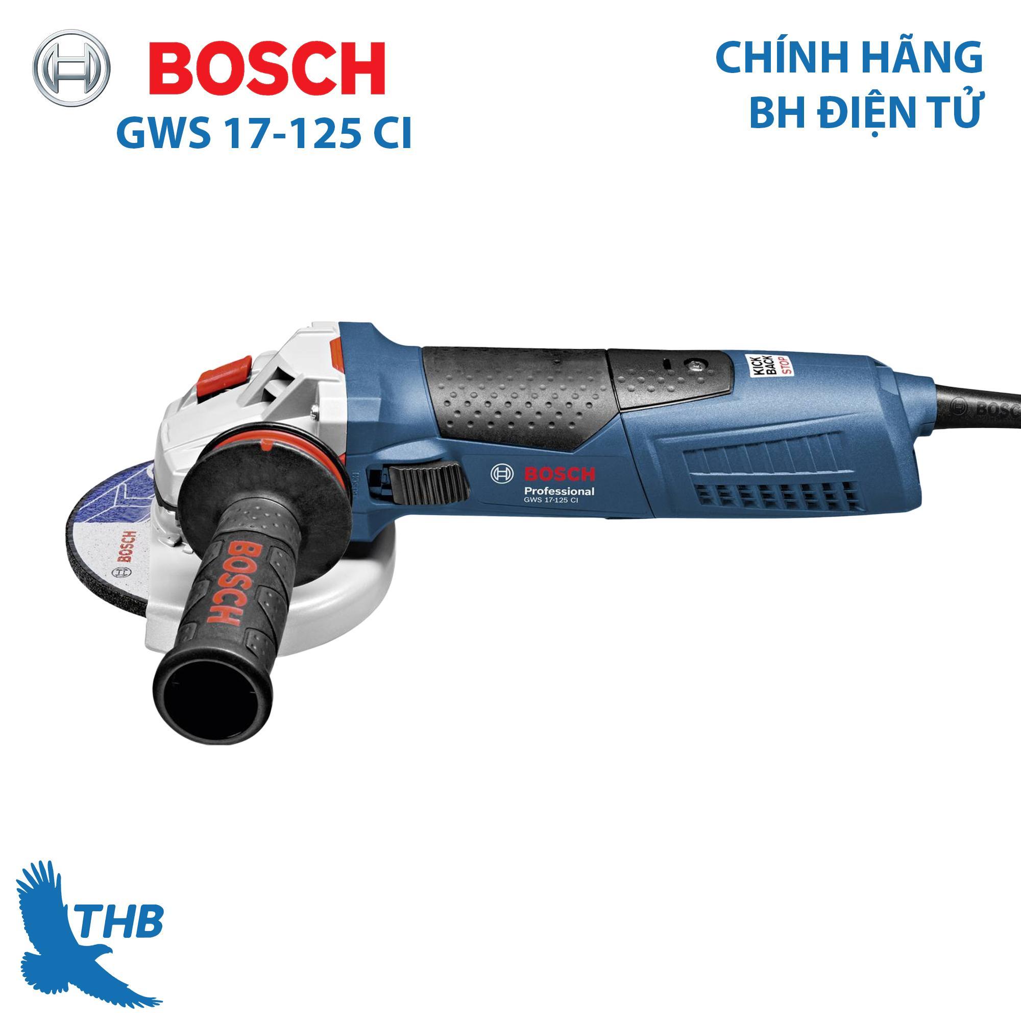 Máy mài góc nhỏ Máy mài góc cầm tay Bosch GWS 17-125 CI Công suất 1700W Đĩa mài 125mm Bảo hành 6 tháng