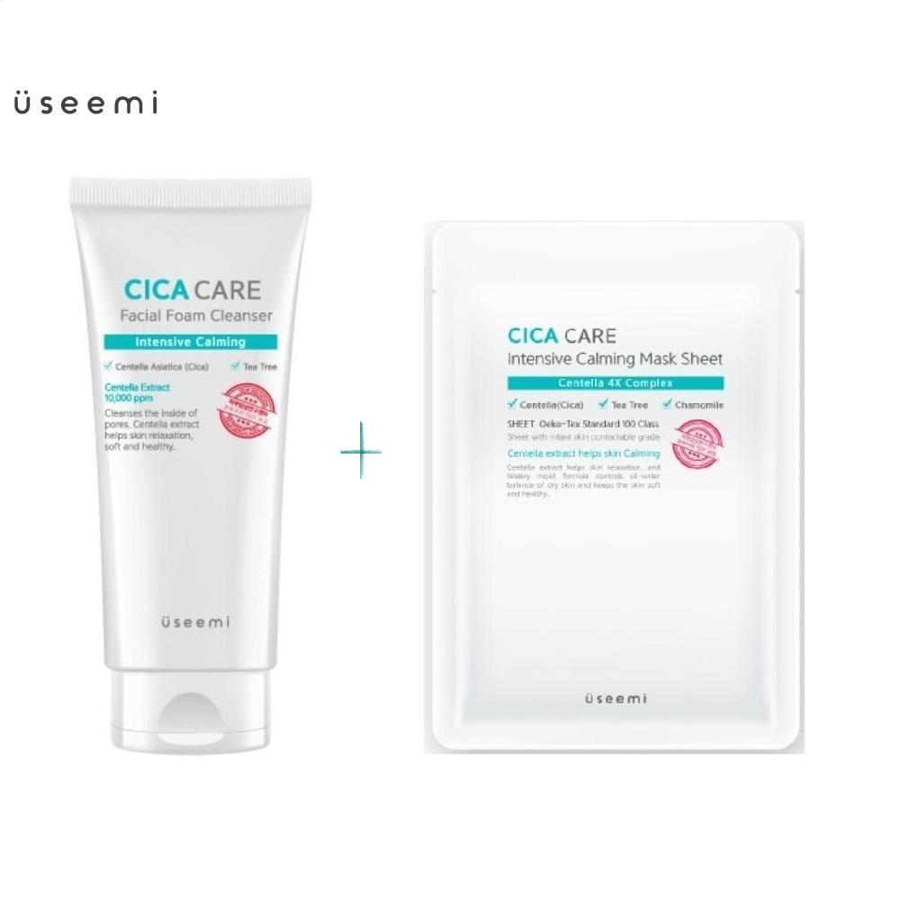 Combo sữa rửa mặt và mặt nạ bổ sung độ ẩm Useemi Cica Care Facial Foam Cleanser 150ml. Bộ sản phẩm sữa rửa mặt và mặt nạ Useemi dưỡng ẩm, cải thiện làn da lão hóa hàng chính hãng chất lượng cao