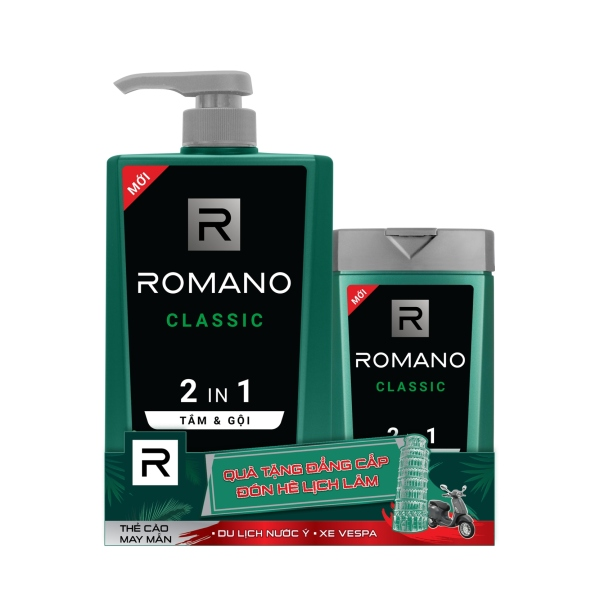 Tắm Gội 2in1 Romano Classic mạnh mẽ tự tin 900g - Tặng tắm gội Romano Classic 150g