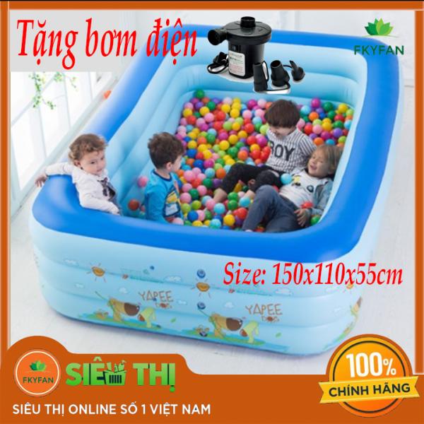 [TẶNG BƠM ĐIỆN] Bể bơi phao 1M5 3 tầng hình chữ nhật Size 150X110X55 cho bé - Hồ bơi cho trẻ 1M5m + Keo miếng vá bể - BBM5