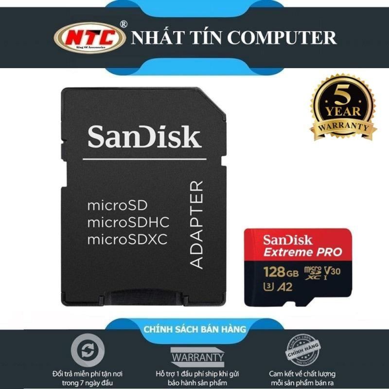 Thẻ nhớ MicroSDXC SanDisk Extreme Pro A2 128GB V30 U3 4K R170MB/s W90MB/s (Đen đỏ) - Nhất Tín Computer