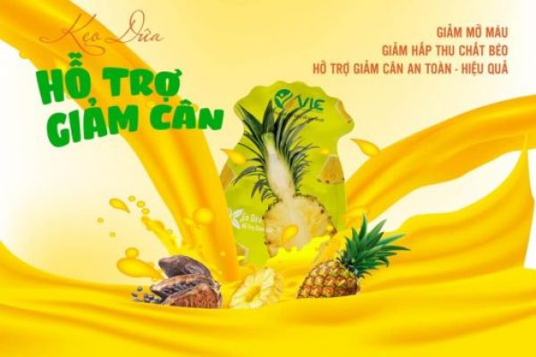 Kẹo dứa giảm cân VIC Organic - Giảm cân dứa - Mẫu mới 2021 - Gói 7 viên Chính hãng