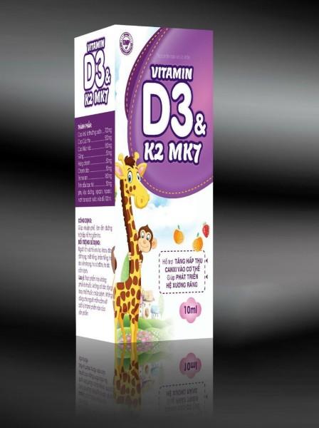 Vitamin D3 K2 Mk7 nhỏ giot  giúp bé hấp thụ calci tăng trưởng chiều cao cân nặng tăng sức đề kháng hộp 10ml giá rẻ