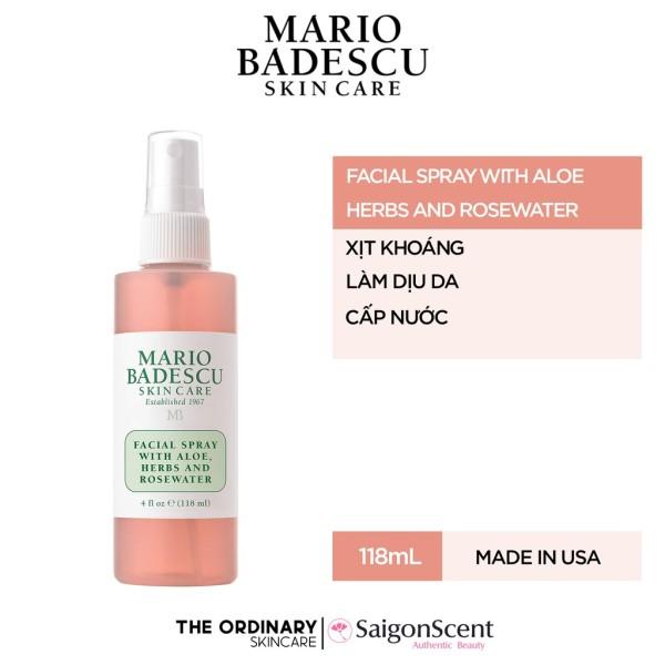 Xịt khoáng Mario Badescu / Facial Spray with Aloe & Herbs and Rosewater ( 118mL ) giá rẻ
