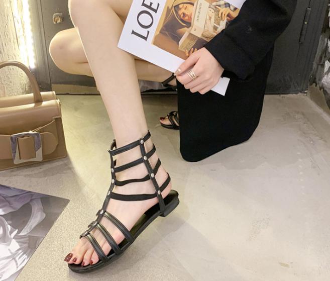 Giày sandal chiến binh da mềm siêu chất phối dây kéo (Đen) giá rẻ