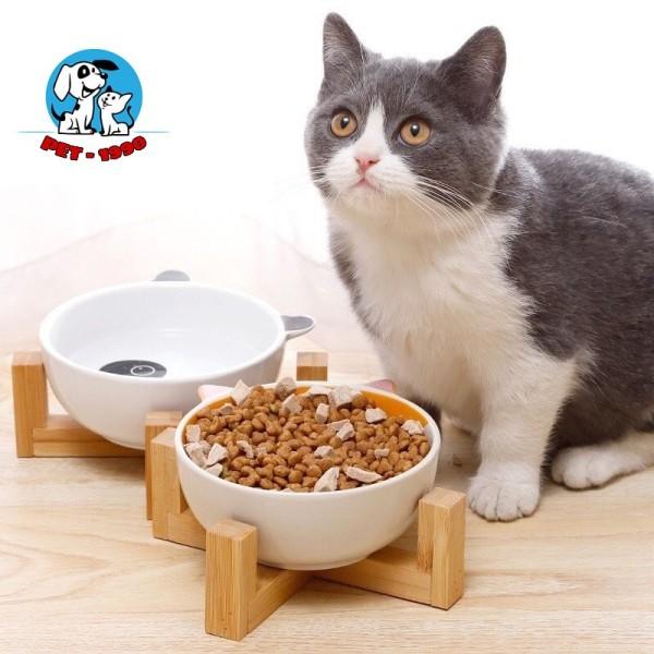 Bát Ăn Sứ Cho Chó Mèo Họa Tiết Con Vật Có Đế Gỗ Sang Trọng
