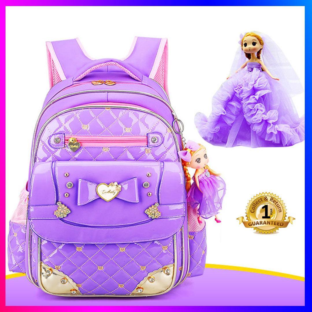 Balo, túi đeo đi học chống gù, chống nước dành cho bé gái cao cấp Coolbaby MS03 (tím bóng) + tặng kèm búp bê treo balo
