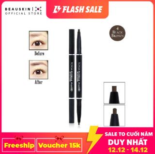 Chì kẻ mày 2 đầu không lem, không trôi Beauskin Eyebrow Crystal Eyebrow Pencil 04 (Đen Nâu) - Hàn Quốc Chính Hãng thumbnail