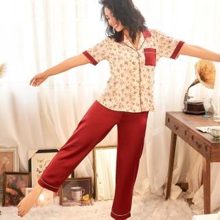 Đồ bộ nữ mặc nhà Pijama dài hoa nhí đỏ VIBES Floral Long Py Set thumbnail