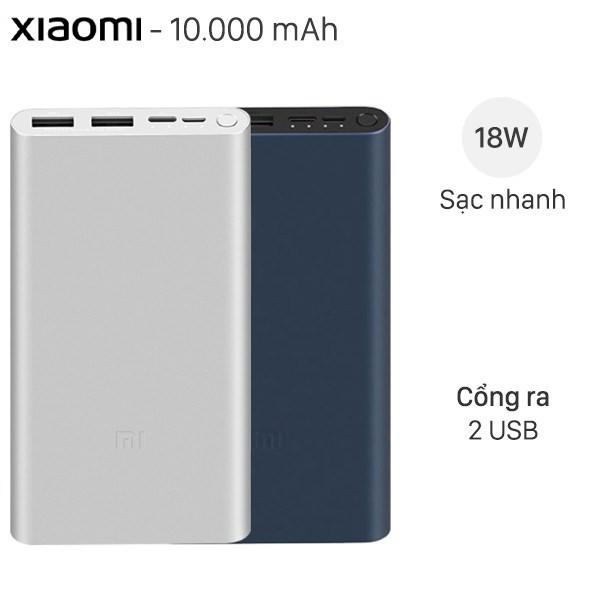 (HÀNG CHÍNH HÃNG) Sạc dự phòng Xiaomi 10000mAh Gen 3 Bản Sạc Nhanh 2021 -Hỗ trợ xạc nhanh cho tất cả các dòng máy IOS , ANDROID