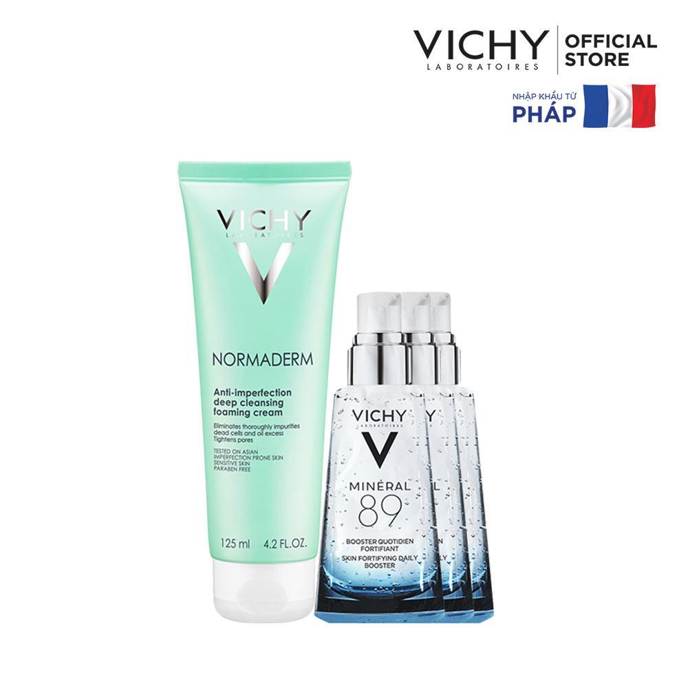 Bộ Sữa rửa mặt dạng kem giúp ngừa mụn & se khít lỗ chân lông Vichy Normaderm Foaming Cream 125ml tốt nhất