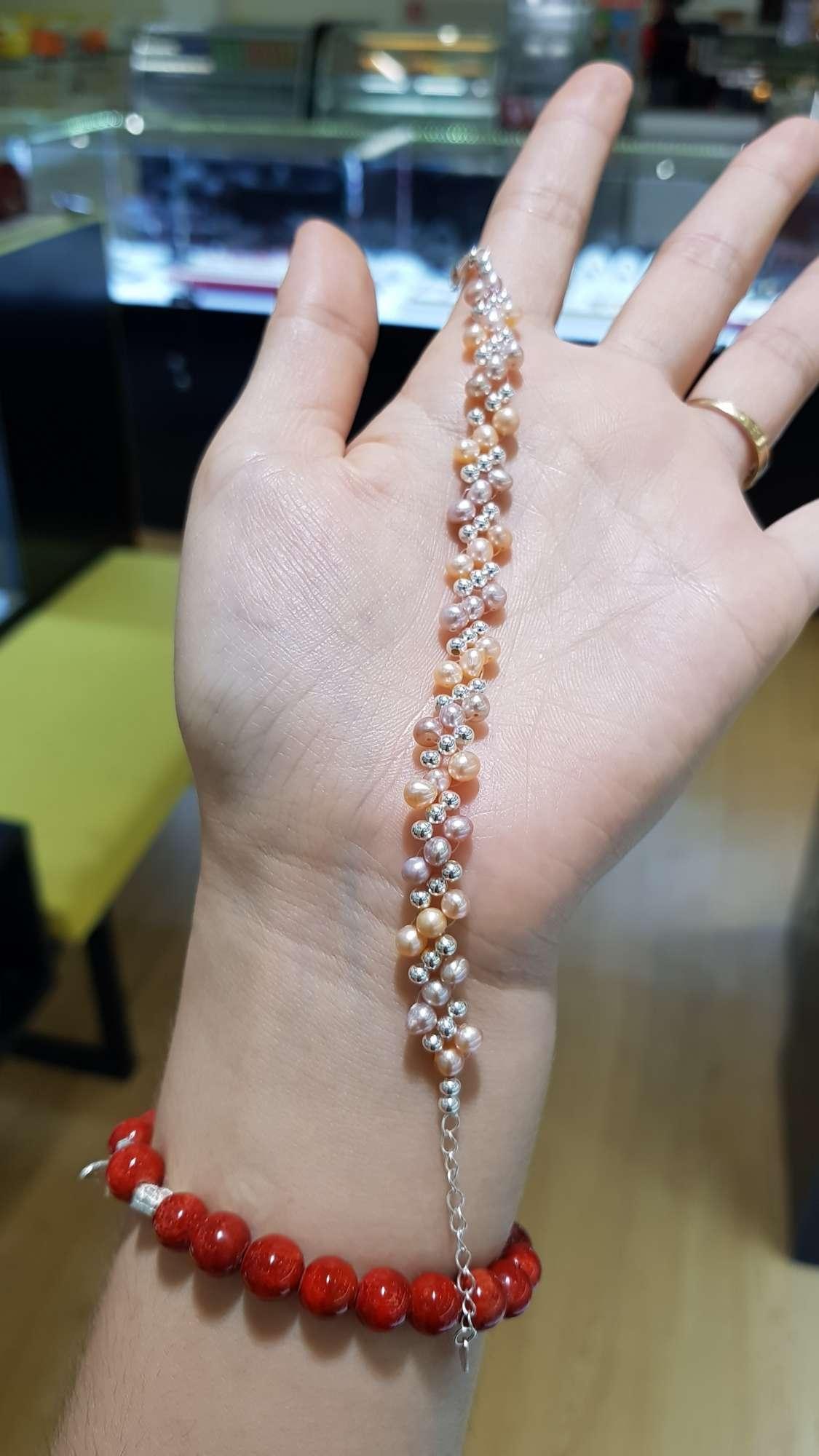 Lắc tay Ngọc trai thật 4ly phối bạc 925