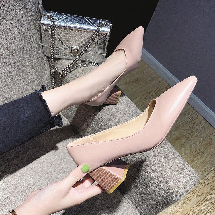 Womens Pointed High Heel Shoes Korean Style Fashion Shallow Mouth Shoes 2019 Spring New Style V Mouth Versatile Block Heel Work Shoes By Taobao Collection.