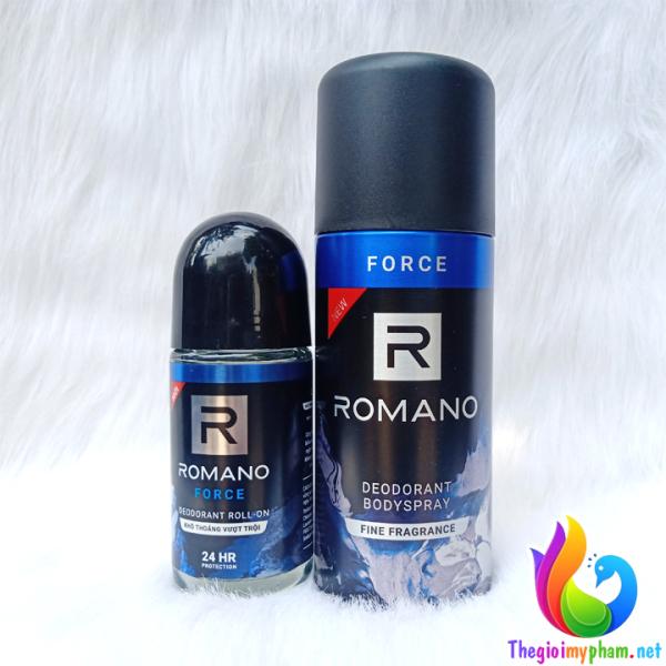 Combo Xịt Khử Mùi Toàn Thân Romano Force 150ml Và Lăn Romano Force 50ml nhập khẩu