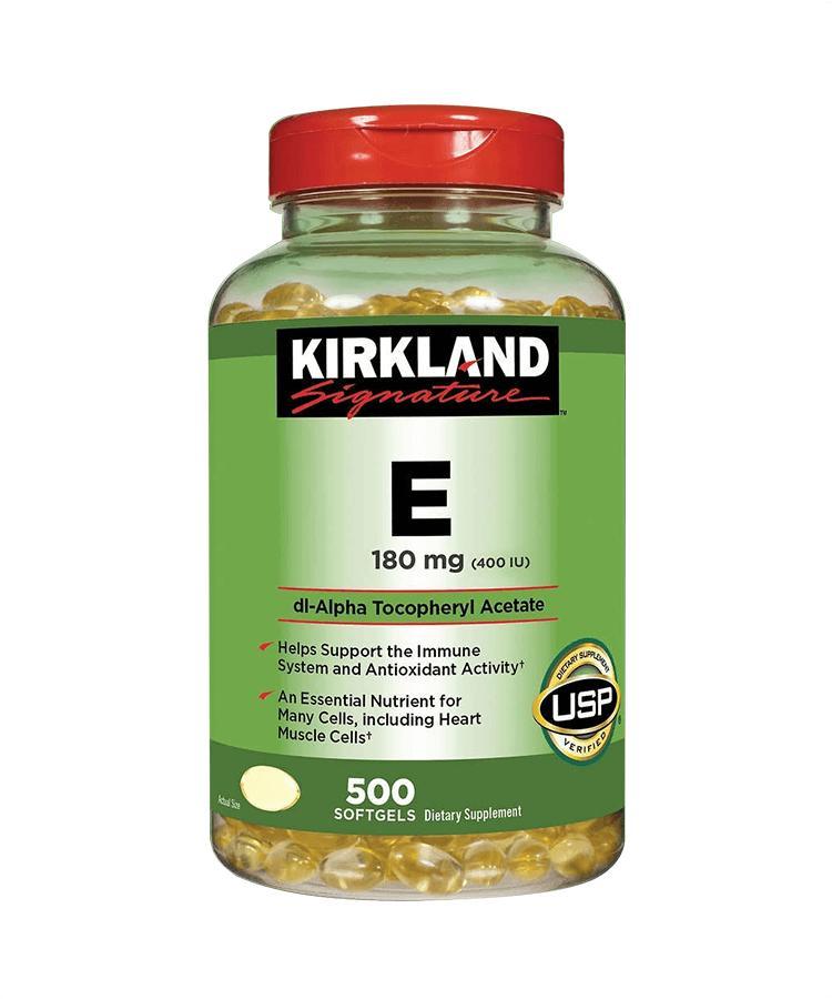 Viên Uống Vitamin E Kirkland 500 Viên - Chống lão hóa dưỡng da trắng sáng ngừa thâm nám chính hãng
