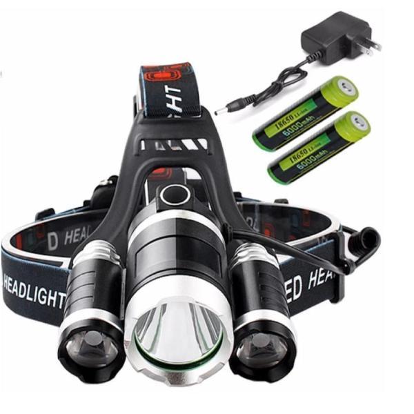 Đèn pin Led siêu sáng đội đầu 3 bóng (Đen) + Kèm hai Pin + Kèm Thêm Sạc 1000001022