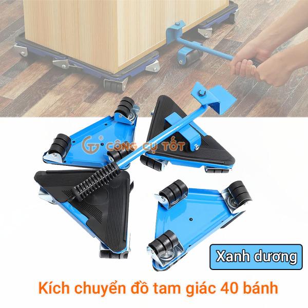 Bộ dụng cụ nâng và di chuyển đồ tam giác 40 bánh,đế bằng sắt TẶNG gang tay cảm ứng