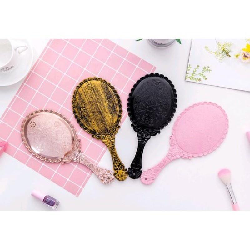 Gương soi mặt trang điểm- gương cầm tay có mặt kính đẹp kiểu hoàng cung giá rẻ