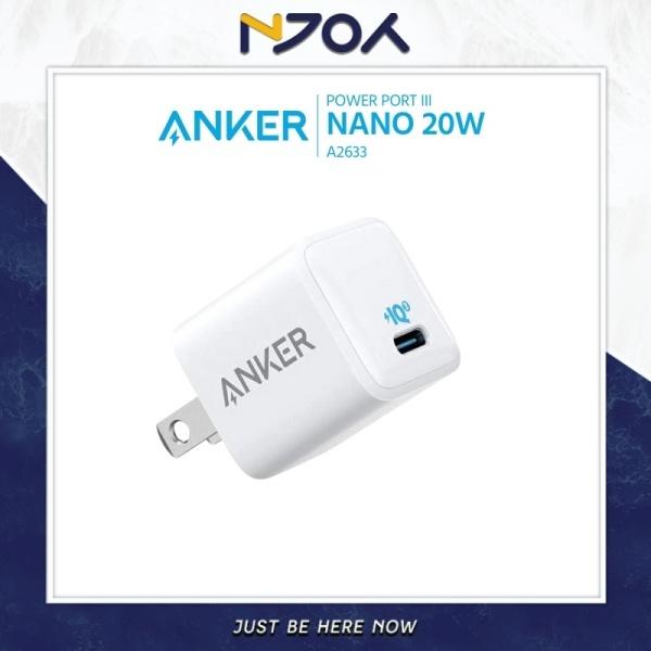 CỦ SẠC ANKER POWERPORT III NANO 20W A2634 USB-C HỖ TRỢ SẠC NHANH CHO IPHONE 12 PRO MAX IPHONE 11 SAMSUNG XIAOMI HUAWEI