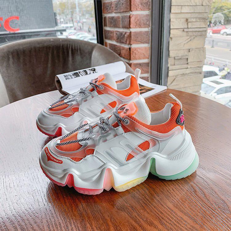 Giày thể thao nữ CLDB đế sóng mới có 3 màu xám, xanh & cam, phối màu cực đẹp, chất liệu da phối lưới cao cấp, độn đế cao, phong cách ulzzang hàn quốc, sử dụng đi học, đi làm, đi chơi, là mẫu giày nữ sneaker giá rẻ hot 2020