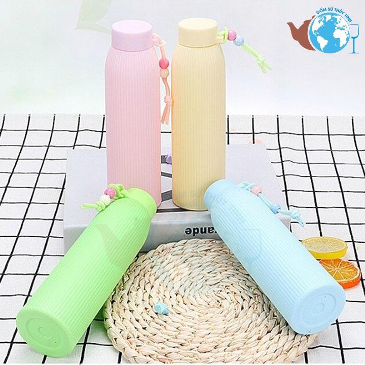 [HCM]Bình thủy tinh giữ nhiệt 420ml có vỏ bọc cute dễ thương - BGN01 thủy tinh cao cấp trong suốt chịu nhiệt từ 0 đến 75độ C