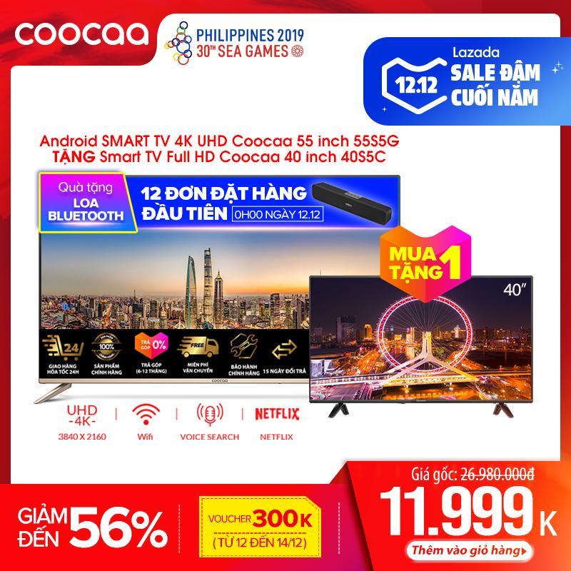 Tiết Kiệm Cực Đã Khi Mua Android SMART TV 4K UHD Coocaa 55 Inch Wifi - Viền Mỏng - Model 55S5G (Vàng) - Tivi Giá Rẻ Chân Viền Kim Loại
