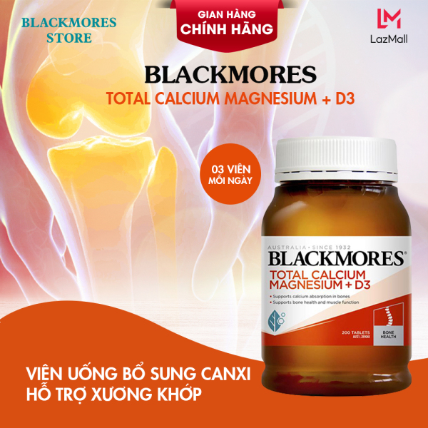 Viên Uống Bổ Sung Canxi Total Calcium & Magnesium + D3 Blackmores Hộp 200 Viên