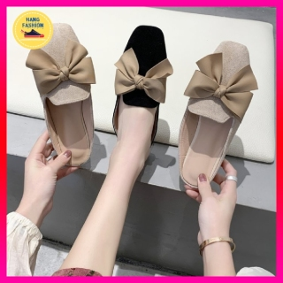 Giày búp bê nữ dáng sục tiểu thư thắt nơ dạ chất liệu da lộn cực xinh, sục nữ xinh, giày búp bê nữ xinh mang đi học, đi chơi thumbnail
