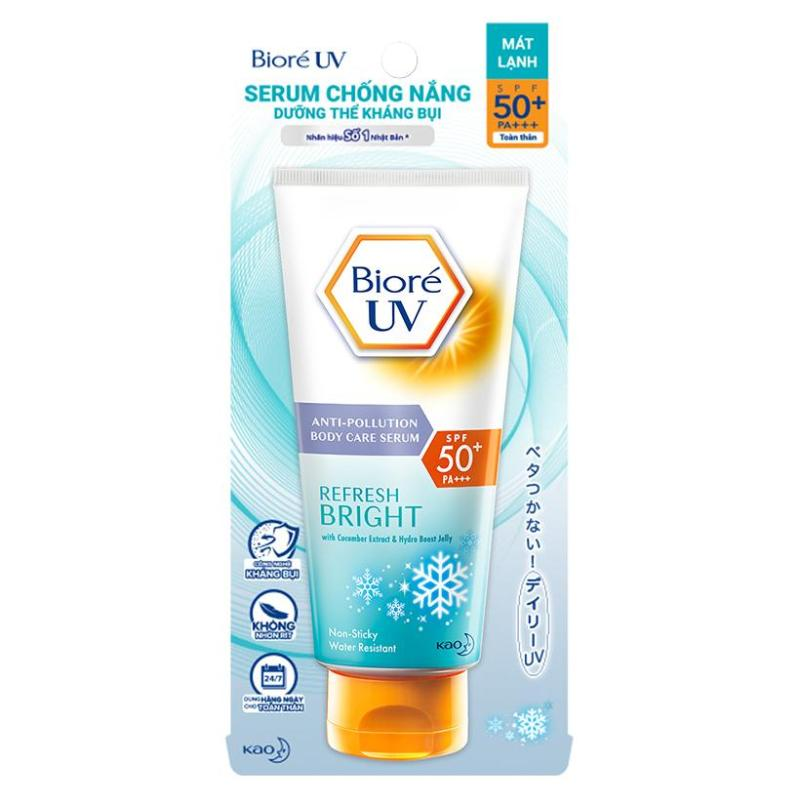 Serum chống nắng Biore UV Anti Pollution Body Care Refresh Bright SPF 50/PA+++ 150ml nhập khẩu