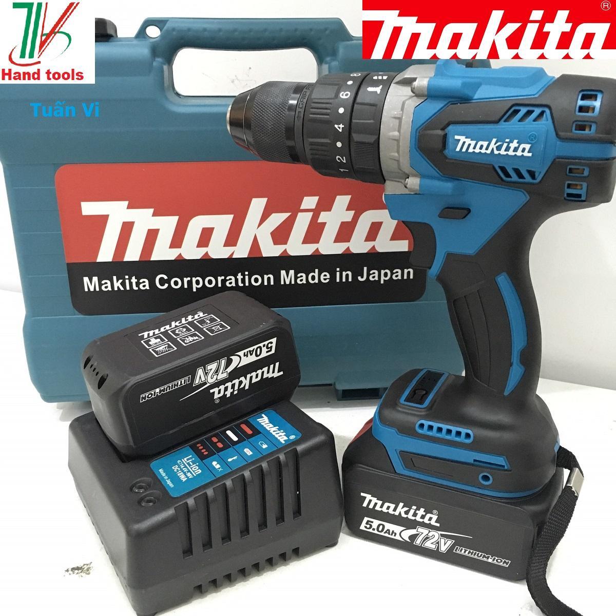 Máy Khoan Pin Makita Không Chổi Than Đầu 13 ly Có Chức năng Búa Pin 72V5.0Ah