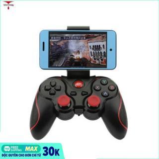 Tay cầm chơi game bluetooth T3 (Đen) + Tay cầm chơi game Liên Quân tặng kèm giá đỡ điện thoại Terios T3, kết nối không dây Bluetooth 3.0, Tay cầm chắc chắn, phím bấm cực nhạy là chìa khóa TEAM BẠN GG. thumbnail