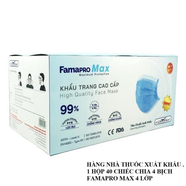 Khẩu trang y tế 4 lớp cao cấp Famapro màu xanh  chuẩn xuất khẩu BFE ≥90% 40 chiếc/hộp chống dinh son môi