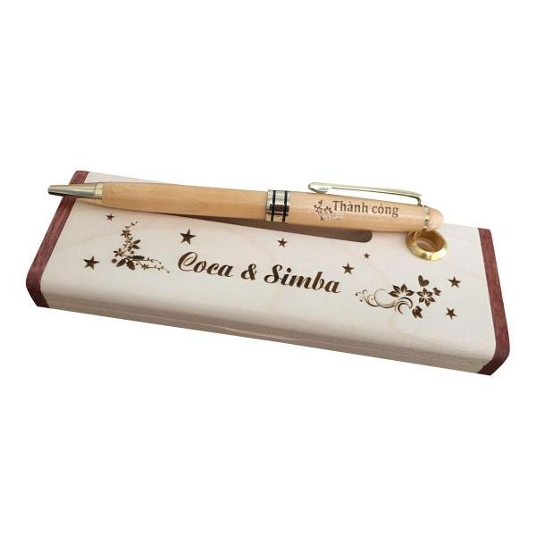 Mua Hộp bút gỗ khắc tên theo yêu cầu