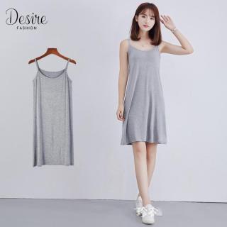 [Kèm video] Váy hai dây - Váy mặc lót thun cotton VNN-0044N (Xám) thumbnail
