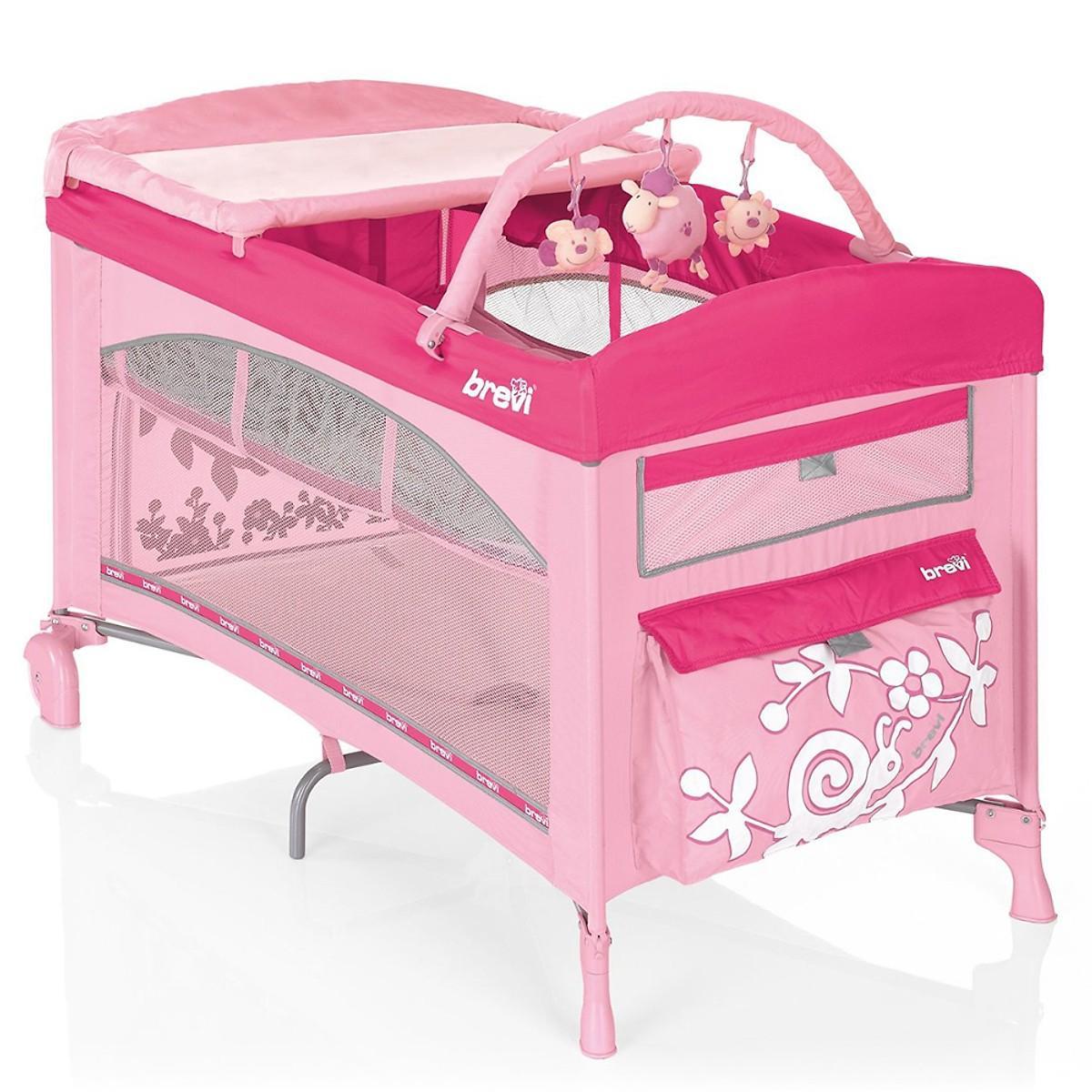 nôi ngủ du lịch cho bé brevi DOLCE SOGNO 850 màu hồng