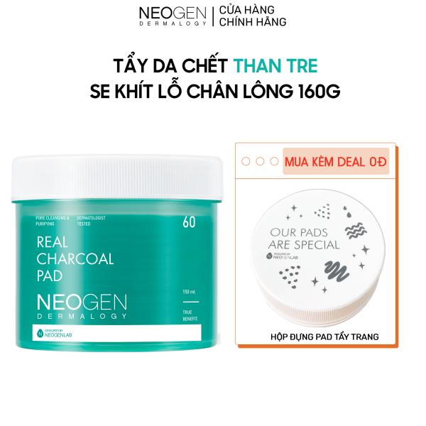 Tẩy Da Chết Than Tre Se Khít Lỗ Chân Lông  Neogen Dermalogy Real Charcoal Pad  150ml (60 Pads)