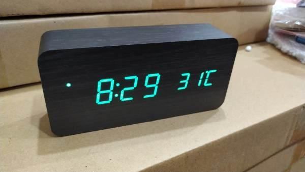 Đồng hồ led để bàn - đồng hồ để bàn bằng gỗ đèn led - đồng hồ gỗ để bàn - Đồng hồ báo thức trang trí - DH003 bán chạy
