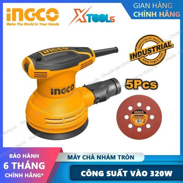 Máy chà nhám tròn INGCO RS3208 320W điện thế 220-240V, kèm 1 giấy giám tròn, 1 bộ than. Máy chà Hoạt động mạnh mẽ, hiệu suất cao, Dễ điều khiển và kiểm soát [XTOOLs] [XSAFE]