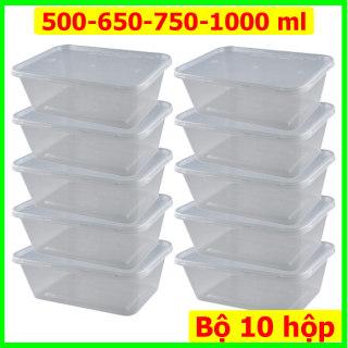 Bộ 10 hộp nhựa đựng thực phẩm chữ nhật, có nắp đậy, dùng được nhiều lần,dung tích 500-650-750-1000 ml. Nhựa trong suốt, an toàn sức khỏe thumbnail