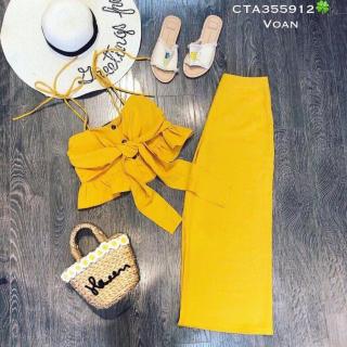 set đồ bộ nữ mặc đi chơi gồm áo kiểu nữ hai dây croptop đính nơ cao cấp và quần ống rộng dáng suông thích hợp đi chơi đi du lịch đi ăn đều hợp - GIRLY STORE thumbnail