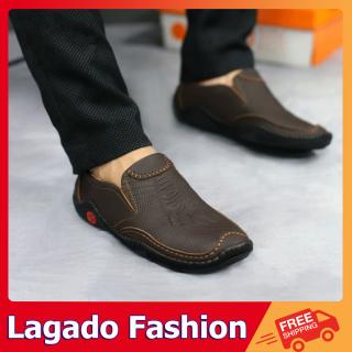 Giày lười nam - Giày mọi nam chất liệu da bò thật in vân chân cá sấu - Giày nam da bò thật cực đẹp thumbnail