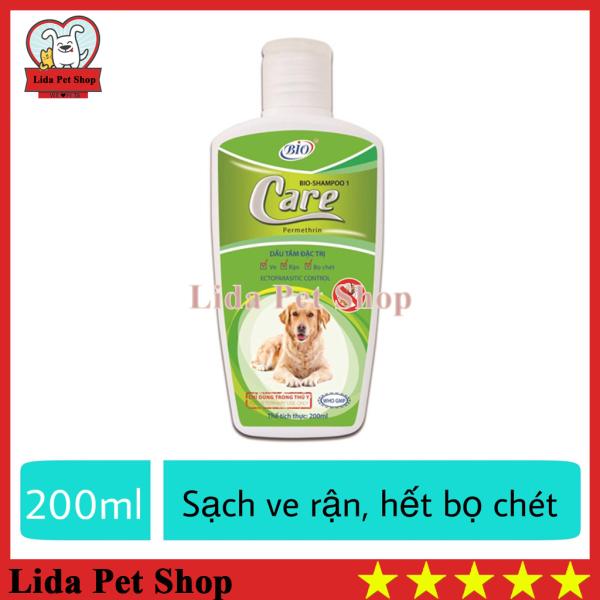 [Lấy mã giảm thêm 30%]HN- Sữa tắm chó chó diệt ve ghẻ rận tai cho chó mèo - Bio Care 200ml - Lida Pet Shop