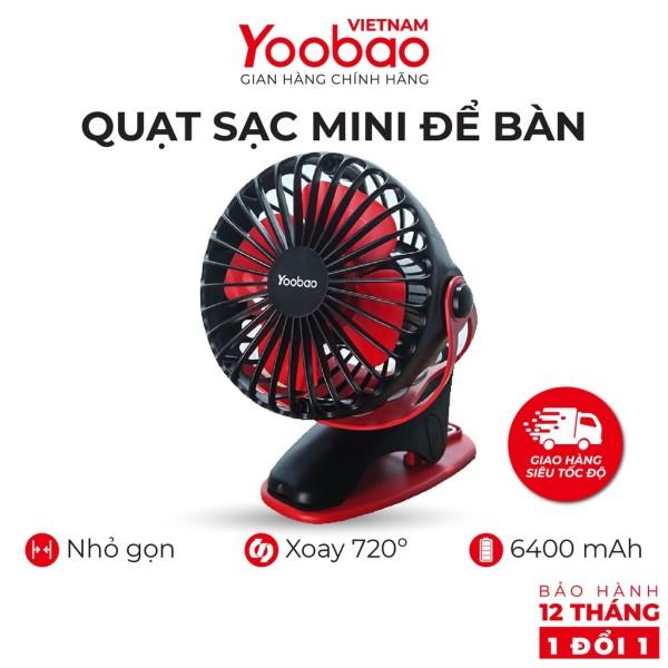 Quạt Yoobao tích điện F04 6400 mahquạt kẹp xe đẩy để bàn. BH 12 tháng